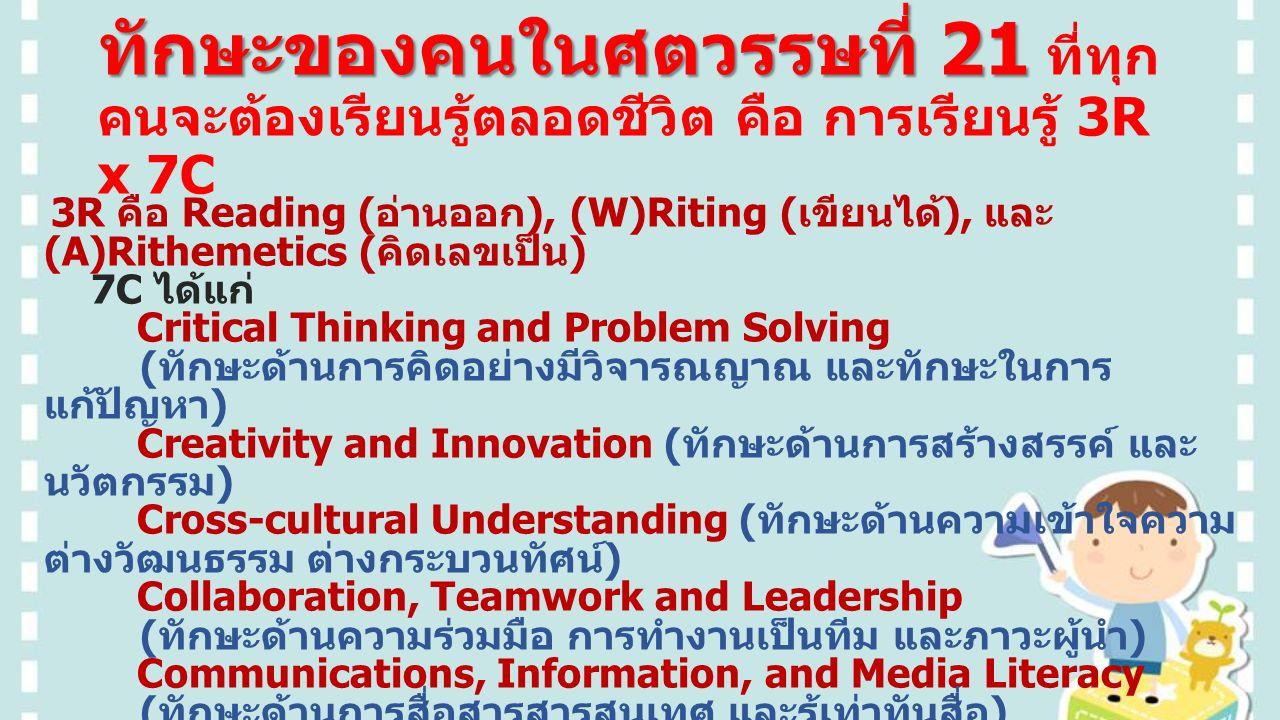 ทักษะของคนในศตวรรษที่ 21 ทักษะของคนในศตวรรษที่ 21 ที่ทุก คนจะต้องเรียนรู้ตลอดชีวิต คือ การเรียนรู้ 3R x 7C 3R คือ Reading ( อ่านออก ), (W)Riting ( เขียนได้ ), และ (A)Rithemetics ( คิดเลขเป็น ) 7C ได้แก่ Critical Thinking and Problem Solving ( ทักษะด้านการคิดอย่างมีวิจารณญาณ และทักษะในการ แก้ปัญหา ) Creativity and Innovation ( ทักษะด้านการสร้างสรรค์ และ นวัตกรรม ) Cross-cultural Understanding ( ทักษะด้านความเข้าใจความ ต่างวัฒนธรรม ต่างกระบวนทัศน์ ) Collaboration, Teamwork and Leadership ( ทักษะด้านความร่วมมือ การทำงานเป็นทีม และภาวะผู้นำ ) Communications, Information, and Media Literacy ( ทักษะด้านการสื่อสารสารสนเทศ และรู้เท่าทันสื่อ ) Computing and ICT Literacy ( ทักษะด้านคอมพิวเตอร์ และ เทคโนโลยีสารสนเทศและการสื่อสาร ) Career and Learning Skills ( ทักษะอาชีพ และทักษะการ เรียนรู้ )
