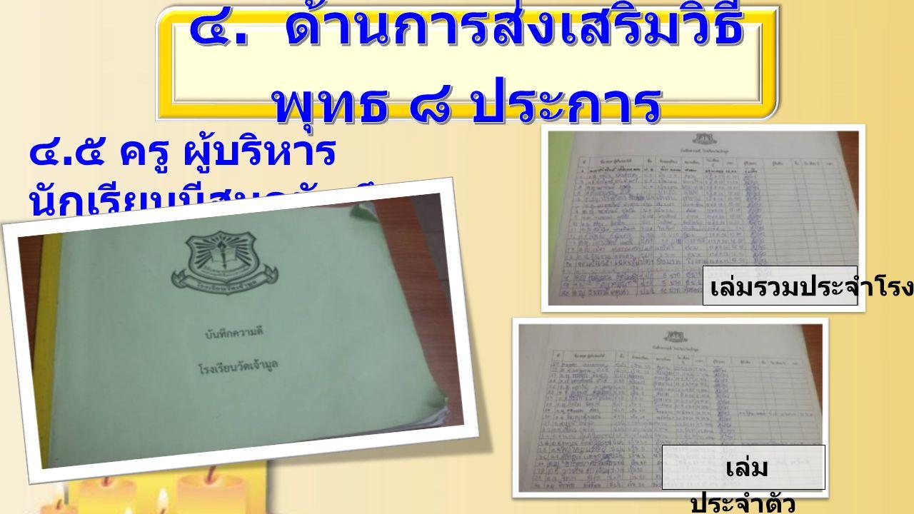 ๔. ๕ ครู ผู้บริหาร นักเรียนมีสมุดบันทึก ความดี เล่มรวมประจำโรงเรียน เล่ม ประจำตัว นักเรียน