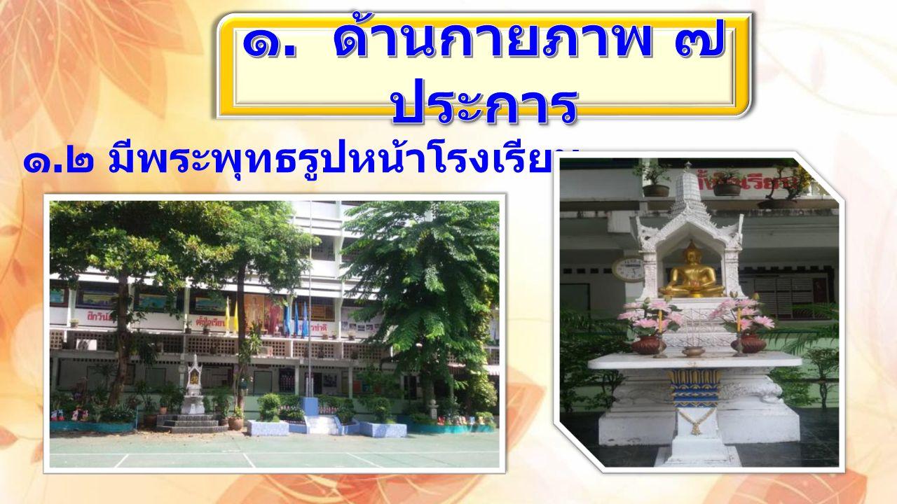 ๑. ๒ มีพระพุทธรูปหน้าโรงเรียน