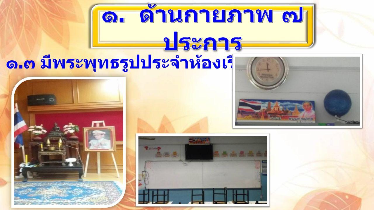 ๑. ๓ มีพระพุทธรูปประจำห้องเรียน