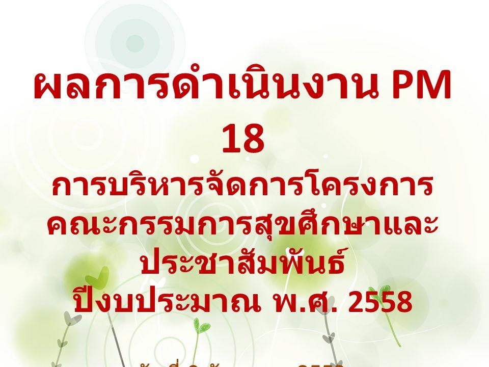 ผลการดำเนินงาน PM 18 การบริหารจัดการโครงการ คณะกรรมการสุขศึกษาและ ประชาสัมพันธ์ ปีงบประมาณ พ.