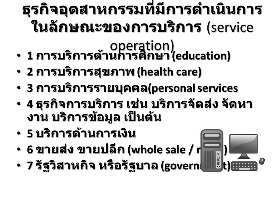 ธุรกิจอุตสาหกรรมที่มีการดำเนินการ ในลักษณะของการบริการ (service operation) 1 การบริการด้านการศึกษา (education) 1 การบริการด้านการศึกษา (education) 2 การบริการสุขภาพ (health care) 2 การบริการสุขภาพ (health care) 3 การบริการรายบุคคล (personal services 3 การบริการรายบุคคล (personal services 4 ธุรกิจการบริการ เช่น บริการจัดส่ง จัดหา งาน บริการข้อมูล เป็นต้น 4 ธุรกิจการบริการ เช่น บริการจัดส่ง จัดหา งาน บริการข้อมูล เป็นต้น 5 บริการด้านการเงิน 5 บริการด้านการเงิน 6 ขายส่ง ขายปลีก (whole sale / retail) 6 ขายส่ง ขายปลีก (whole sale / retail) 7 รัฐวิสาหกิจ หรือรัฐบาล (government) 7 รัฐวิสาหกิจ หรือรัฐบาล (government)