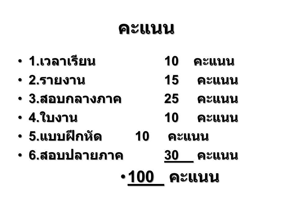 คะแนน 1. เวลาเรียน 10 คะแนน 1. เวลาเรียน 10 คะแนน 2.