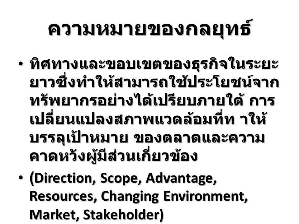 สมยศ นาวีการ (2542) ให้ ความหมายไว้ว่า กลยุทธ์ คือ แผนงานระยะยาวขององค์การ ที่ถูกกำหนดขึ้นมา เพื่อการ บรรลุภารกิจและเป้าหมายของ องค์การ กลยุทธ์จะต้องใช้ข้อ ได้เปรียบจากการแข่งขันให้ มากที่สุดและข้อเสียเปรียบ ทางการแข่งขันน้อยที่สุด สมยศ นาวีการ (2542) ให้ ความหมายไว้ว่า กลยุทธ์ คือ แผนงานระยะยาวขององค์การ ที่ถูกกำหนดขึ้นมา เพื่อการ บรรลุภารกิจและเป้าหมายของ องค์การ กลยุทธ์จะต้องใช้ข้อ ได้เปรียบจากการแข่งขันให้ มากที่สุดและข้อเสียเปรียบ ทางการแข่งขันน้อยที่สุด