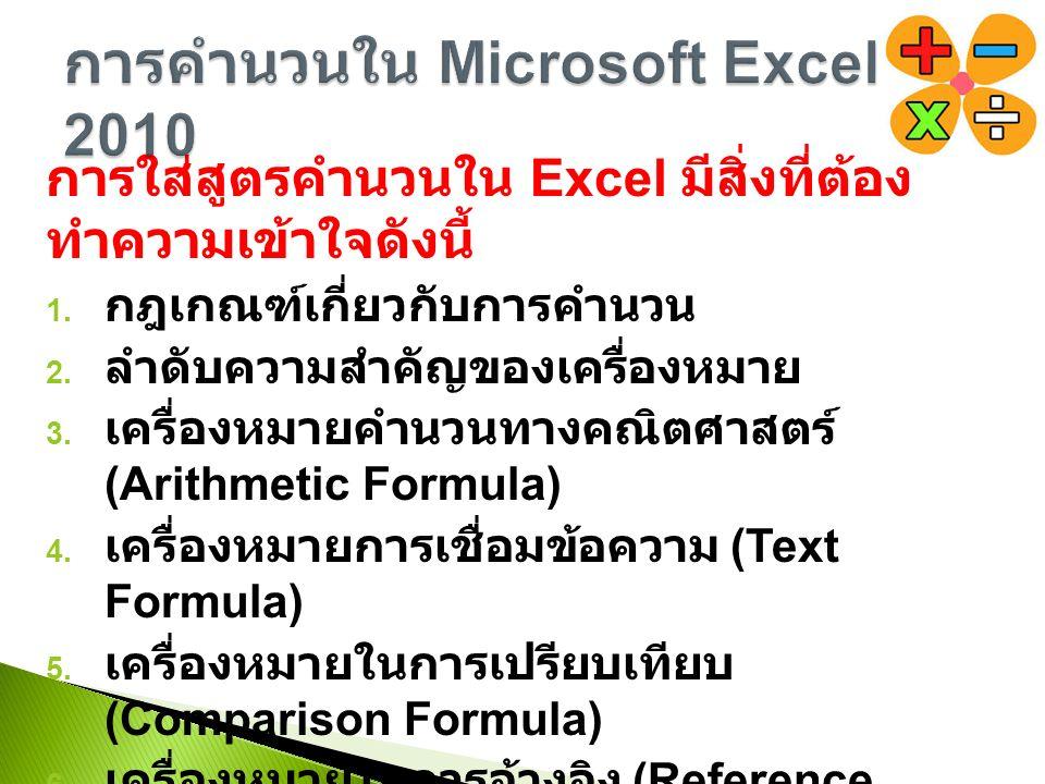 การใส่สูตรคำนวนใน Excel มีสิ่งที่ต้อง ทำความเข้าใจดังนี้ 1.