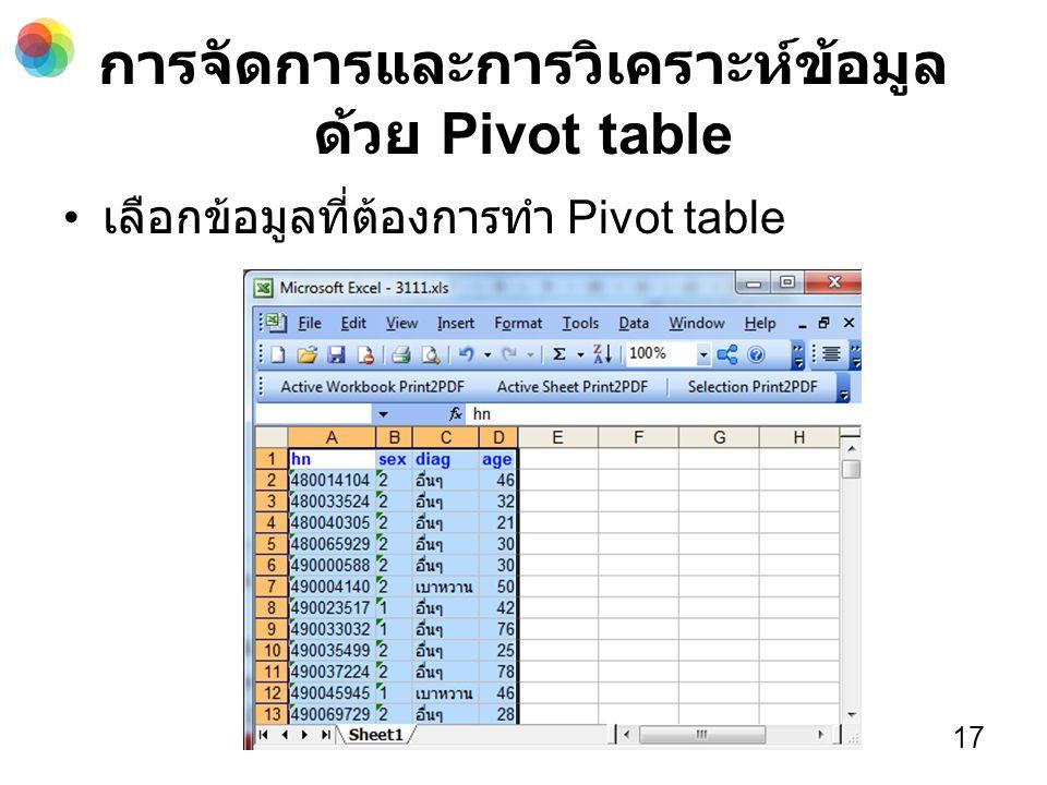 การจัดการและการวิเคราะห์ข้อมูล ด้วย Pivot table เลือกข้อมูลที่ต้องการทำ Pivot table 17