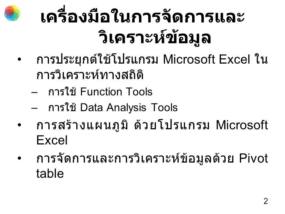 เครื่องมือในการจัดการและ วิเคราะห์ข้อมูล การประยุกต์ใช้โปรแกรม Microsoft Excel ใน การวิเคราะห์ทางสถิติ – การใช้ Function Tools – การใช้ Data Analysis Tools การสร้างแผนภูมิ ด้วยโปรแกรม Microsoft Excel การจัดการและการวิเคราะห์ข้อมูลด้วย Pivot table 2