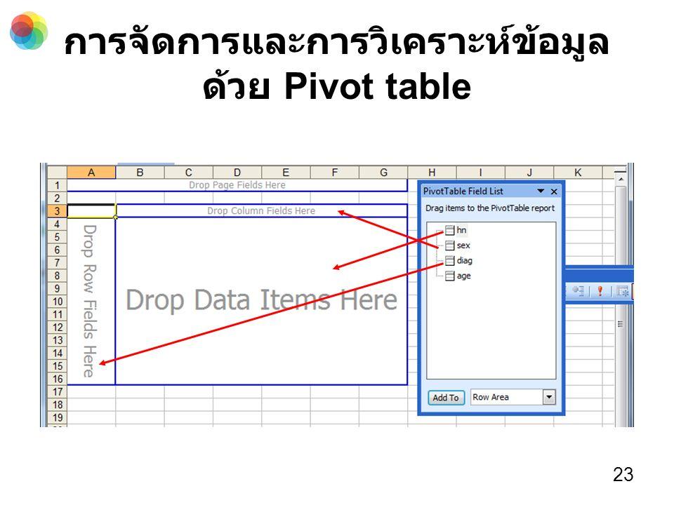 การจัดการและการวิเคราะห์ข้อมูล ด้วย Pivot table 23