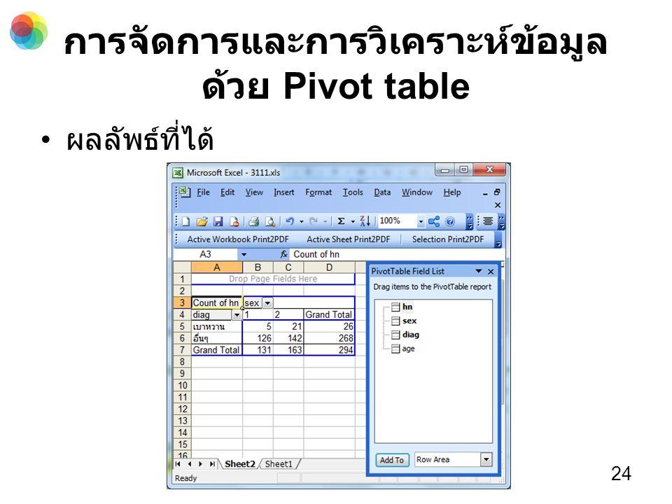 การจัดการและการวิเคราะห์ข้อมูล ด้วย Pivot table ผลลัพธ์ที่ได้ 24