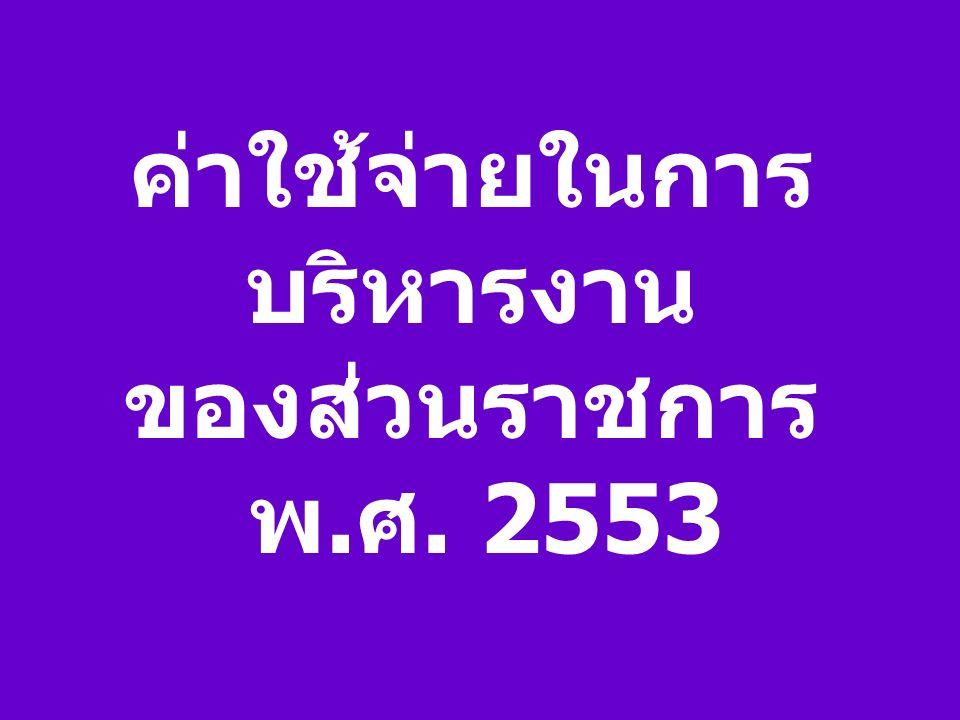 ค่าใช้จ่ายในการ บริหารงาน ของส่วนราชการ พ. ศ. 2553