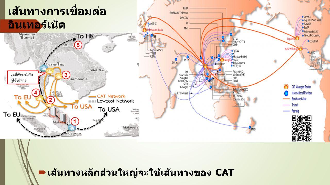 เส้นทางการเชื่อมต่อ อินเทอร์เน็ต  เส้นทางหลักส่วนใหญ่จะใช้เส้นทางของ CAT