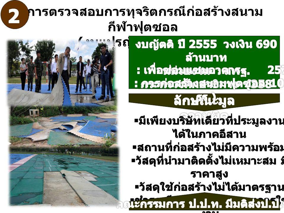 การตรวจสอบการทุจริตกรณีก่อสร้างสนาม กีฬาฟุตซอล ( งบแปรญัตติ ) ปี 2555