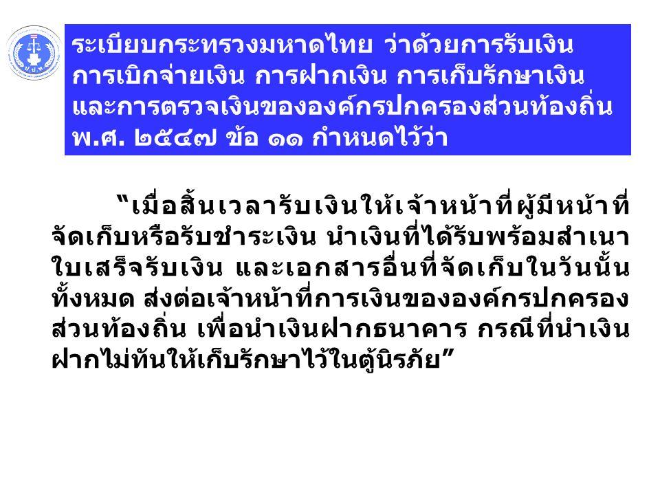 ระเบียบกระทรวงมหาดไทย ว่าด้วยการรับเงิน การเบิกจ่ายเงิน การฝากเงิน การเก็บรักษาเงิน และการตรวจเงินขององค์กรปกครองส่วนท้องถิ่น พ.ศ.
