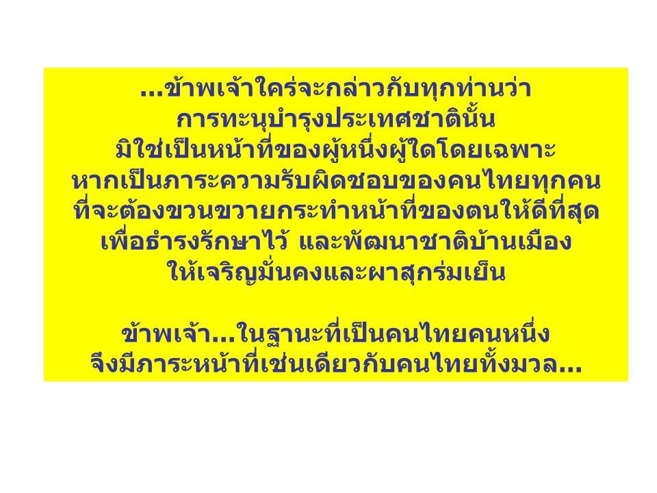 ...ข้าพเจ้าใคร่จะกล่าวกับทุกท่านว่า การทะนุบำรุงประเทศชาตินั้น มิใช่เป็นหน้าที่ของผู้หนึ่งผู้ใดโดยเฉพาะ หากเป็นภาระความรับผิดชอบของคนไทยทุกคน ที่จะต้องขวนขวายกระทำหน้าที่ของตนให้ดีที่สุด เพื่อธำรงรักษาไว้ และพัฒนาชาติบ้านเมือง ให้เจริญมั่นคงและผาสุกร่มเย็น ข้าพเจ้า...ในฐานะที่เป็นคนไทยคนหนึ่ง จึงมีภาระหน้าที่เช่นเดียวกับคนไทยทั้งมวล...