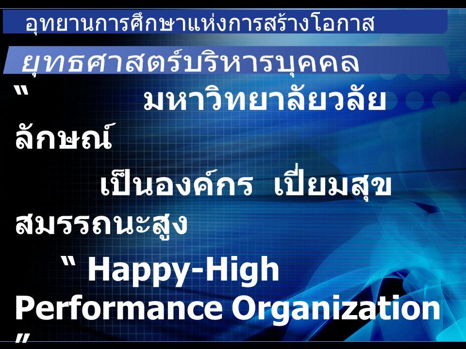อุทยานการศึกษาแห่งการสร้างโอกาส มหาวิทยาลัยวลัย ลักษณ์ เป็นองค์กร เปี่ยมสุข สมรรถนะสูง Happy-High Performance Organization
