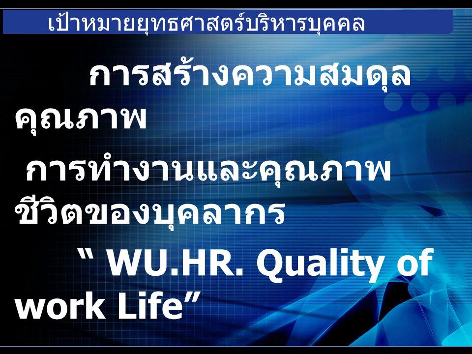 เป้าหมายยุทธศาสตร์บริหารบุคคล การสร้างความสมดุล คุณภาพ การทำงานและคุณภาพ ชีวิตของบุคลากร WU.HR.