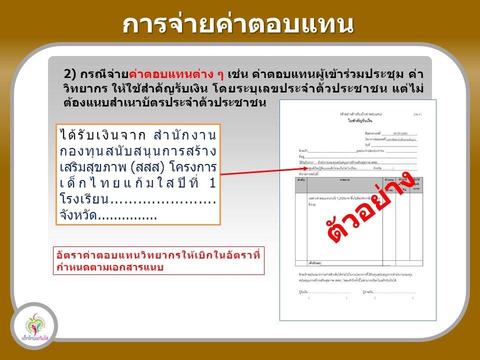 การจ่ายค่าตอบแทน 2) กรณีจ่ายค่าตอบแทนต่าง ๆ เช่น ค่าตอบแทนผู้เข้าร่วมประชุม ค่า วิทยากร ให้ใช้สำคัญรับเงิน โดยระบุเลขประจำตัวประชาชน แต่ไม่ ต้องแนบสำเนาบัตรประจำตัวประชาชน ได้รับเงินจาก สำนักงาน กองทุนสนับสนุนการสร้าง เสริมสุขภาพ (สสส) โครงการ เด็กไทยแก้มใสปีที่ 1 โรงเรียน.......................