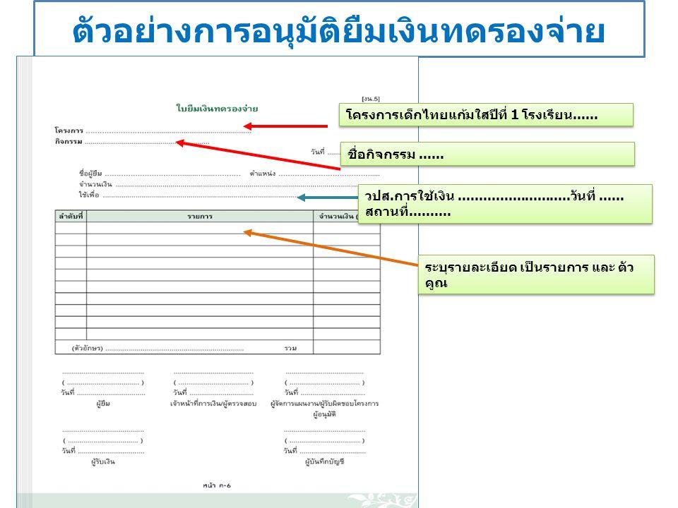 ตัวอย่างการอนุมัติยืมเงินทดรองจ่าย โครงการเด็กไทยแก้มใสปีที่ 1 โรงเรียน......