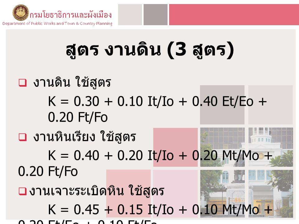 สูตร งานดิน (3 สูตร )  งานดิน ใช้สูตร K = 0.30 + 0.10 It/Io + 0.40 Et/Eo + 0.20 Ft/Fo  งานหินเรียง ใช้สูตร K = 0.40 + 0.20 It/Io + 0.20 Mt/Mo + 0.20 Ft/Fo  งานเจาะระเบิดหิน ใช้สูตร K = 0.45 + 0.15 It/Io + 0.10 Mt/Mo + 0.20 Et/Eo + 0.10 Ft/Fo