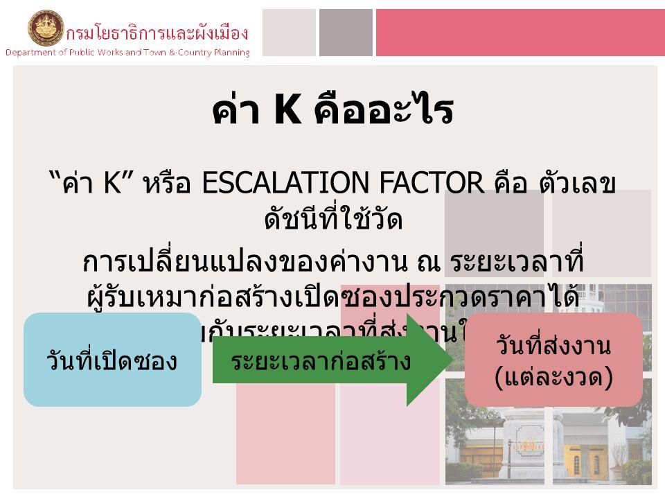 ค่า K คืออะไร ค่า K หรือ ESCALATION FACTOR คือ ตัวเลข ดัชนีที่ใช้วัด การเปลี่ยนแปลงของค่างาน ณ ระยะเวลาที่ ผู้รับเหมาก่อสร้างเปิดซองประกวดราคาได้ เปรียบเทียบกับระยะเวลาที่ส่งงานในแต่ละงวด วันที่เปิดซองระยะเวลาก่อสร้าง วันที่ส่งงาน ( แต่ละงวด )