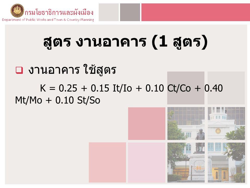 สูตร งานอาคาร (1 สูตร )  งานอาคาร ใช้สูตร K = 0.25 + 0.15 It/Io + 0.10 Ct/Co + 0.40 Mt/Mo + 0.10 St/So