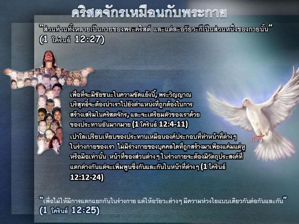 โดยพระดำรัสของพระเจ้าผู้รับใช้ของพระองค์จะได้รับของ ประทานที่หลากหลาย และโดยของประทานนี้พระเจ้าทรงมี วัตถุประสงค์เฉพาะอย่างที่จะนำมาใช้ในพันธกิจของ คริสตจักร, ซึ่งจะเป็นผู้ที่รับใช้ทำงานร่วมกับพระเจ้า คริสตจักรจะมีความต้องการในการรับใช้ที่แตกต่างกันและก็มี ของประทานแห่งการรับใช้ที่แตกต่างกัน ดังนั้นผู้รับใช้พระ เจ้าจึงควรที่จะทำงานด้วยกันอย่างสามัคคี ขอบคุณพระเจ้าที่ การรับใช้นั้นจะมีความหลากหลายในการรับใช้ซึ่งมีความ แตกต่างกัน แต่ขณะเดียวกันเราทุกคนต่างก็มีพระวิญญาณ องค์เดียวกันและเป็นพระวิญญาณที่อยู่ในพระคริสต์องค์ เดียวกัน E.G.W.