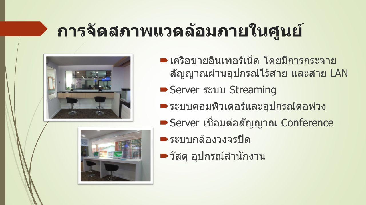 การจัดสภาพแวดล้อมภายในศูนย์  เครือข่ายอินเทอร์เน็ต โดยมีการกระจาย สัญญาณผ่านอุปกรณ์ไร้สาย และสาย LAN  Server ระบบ Streaming  ระบบคอมพิวเตอร์และอุปกรณ์ต่อพ่วง  Server เชื่อมต่อสัญญาณ Conference  ระบบกล้องวงจรปิด  วัสดุ อุปกรณ์สำนักงาน