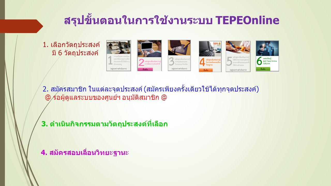 สรุปขั้นตอนในการใช้งานระบบ TEPEOnline 1. เลือกวัตถุประสงค์ มี 6 วัตถุประสงค์ 2.