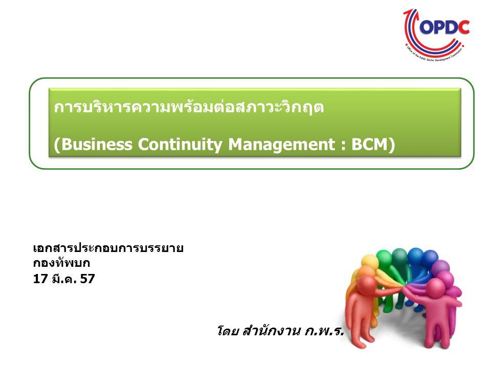 องค์ประกอบของมาตรฐานการบริหารความต่อเนื่องทางธุรกิจ 11 BS 25999: Business Continuity Management 1 1 2 2 3 3 4 4 5 5 6 6 Assigning Responsibil ities Implemen ting BCM Ongoing Managem ent Business Impact Analysis Risk Assessm ent Determin e Choices Determine BCM Strategies Strategy Options Respons e Structure Incident Manageme nt Plan Business Continuity Plan Exercise Program Maintain & Review BCM Audit & Self Assessm ent Build BCM Culture Awarene ss Skill Training BCM program management Understanding the organization Determining BC strategy Developing BCM response BCM exercise and maintaining Embedding BCM culture