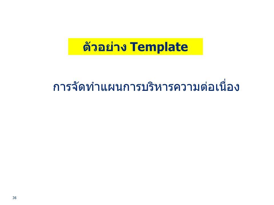 36 ตัวอย่าง Template การจัดทำแผนการบริหารความต่อเนื่อง