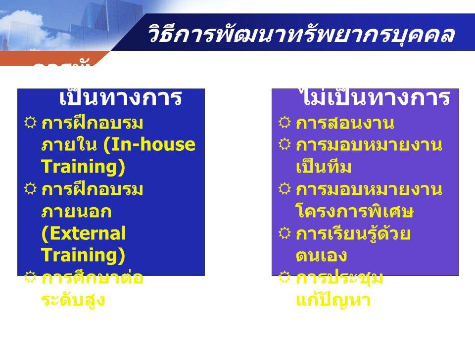 วิธีการพัฒนาทรัพยากรบุคคล การพัฒนาแบบ เป็นทางการ  การฝึกอบรม ภายใน (In-house Training)  การฝึกอบรม ภายนอก (External Training)  การศึกษาต่อ ระดับสูง การพัฒนาแบบ ไม่เป็นทางการ  การสอนงาน  การมอบหมายงาน เป็นทีม  การมอบหมายงาน โครงการพิเศษ  การเรียนรู้ด้วย ตนเอง  การประชุม แก้ปัญหา