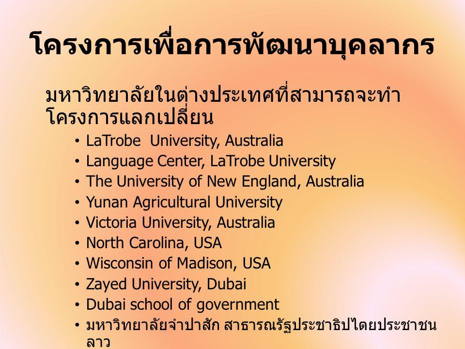 โครงการเพื่อการพัฒนาบุคลากร มหาวิทยาลัยในต่างประเทศที่สามารถจะทำ โครงการแลกเปลี่ยน LaTrobe University, Australia Language Center, LaTrobe University The University of New England, Australia Yunan Agricultural University Victoria University, Australia North Carolina, USA Wisconsin of Madison, USA Zayed University, Dubai Dubai school of government มหาวิทยาลัยจำปาสัก สาธารณรัฐประชาธิปไตยประชาชน ลาว