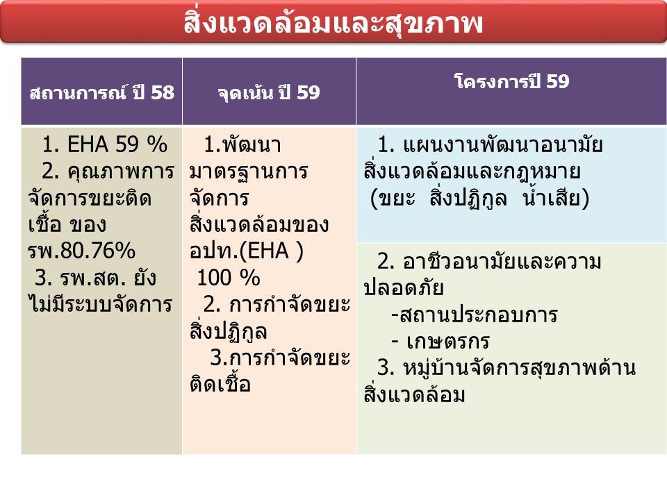 สิ่งแวดล้อมและสุขภาพ สถานการณ์ ปี 58จุดเน้น ปี 59 โครงการปี 59 1.