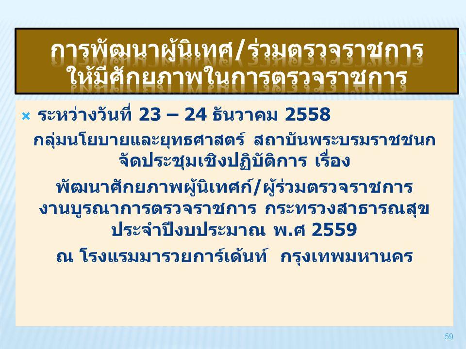  ระหว่างวันที่ 23 – 24 ธันวาคม 2558 กลุ่มนโยบายและยุทธศาสตร์ สถาบันพระบรมราชชนก จัดประชุมเชิงปฏิบัติการ เรื่อง พัฒนาศักยภาพผู้นิเทศก์/ผู้ร่วมตรวจราชก