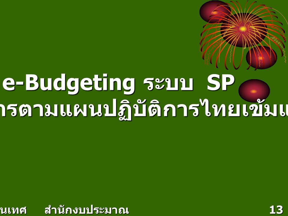 e-Budgeting ระบบ SP โครงการตามแผนปฏิบัติการไทยเข้มแข็ง ศูนย์เทคโนโลยีสารสนเทศ สำนักงบประมาณ 13 กรกฎาคม 2552