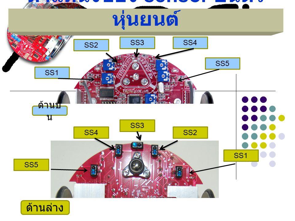 ตำแหน่งของ sensor บนตัว หุ่นยนต์ SS1 SS2 SS3 SS4 SS5 ด้านล่าง SS1 SS2 SS3SS4 SS5 ด้านบ น