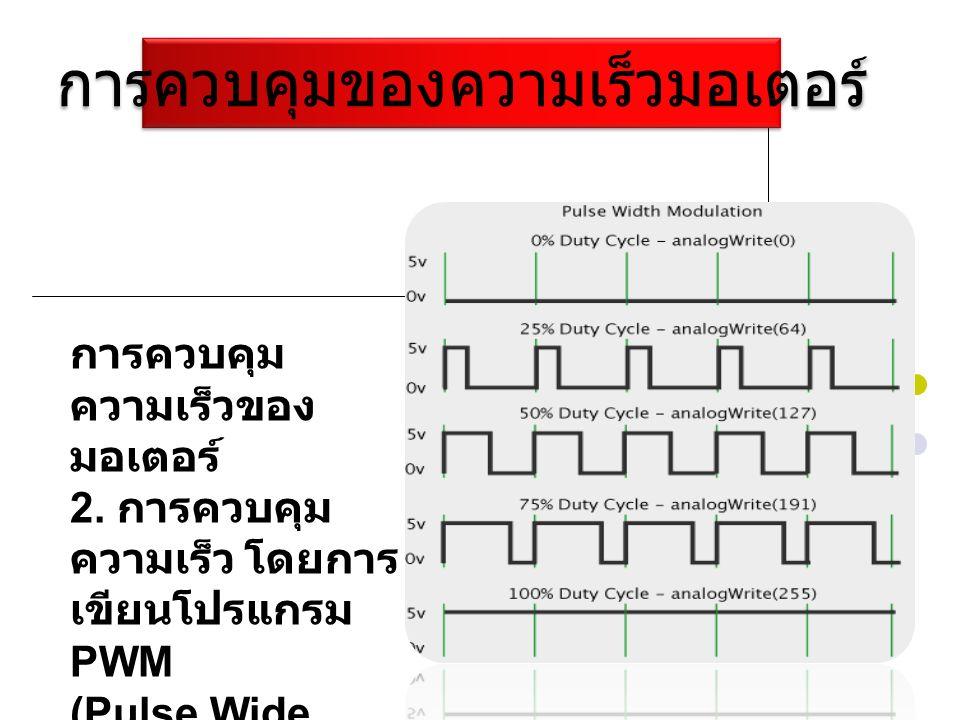 การควบคุมของความเร็วมอเตอร์ การควบคุม ความเร็วของ มอเตอร์ 2. การควบคุม ความเร็ว โดยการ เขียนโปรแกรม PWM (Pulse Wide Modulator)