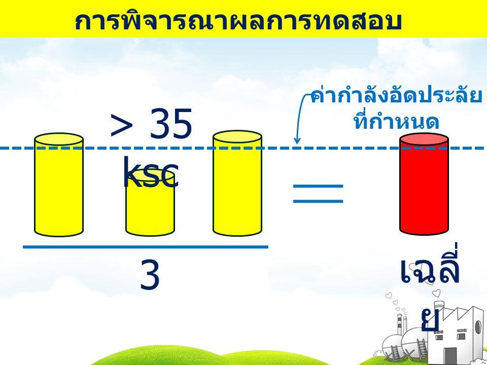 การพิจารณาผลการทดสอบ 3 > 35 ksc เฉลี่ ย ค่ากำลังอัดประลัย ที่กำหนด