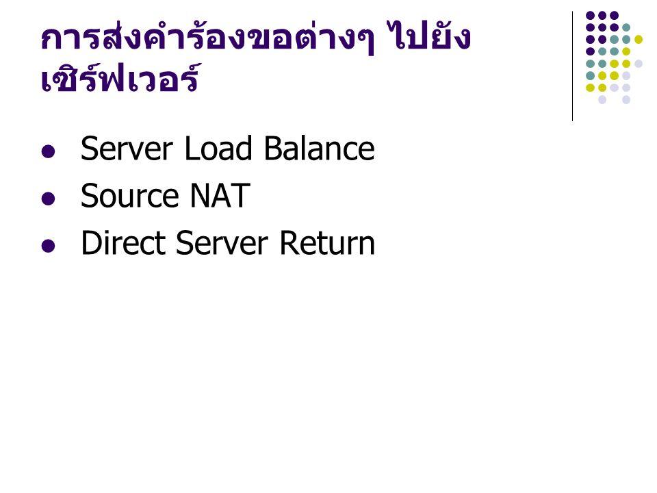 การส่งคำร้องขอต่างๆ ไปยัง เซิร์ฟเวอร์ Server Load Balance Source NAT Direct Server Return