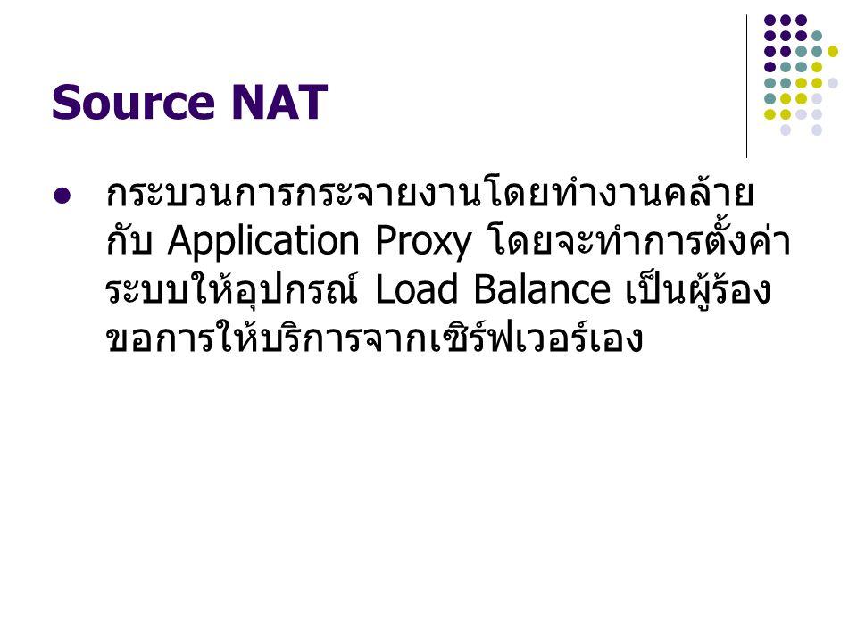 Source NAT กระบวนการกระจายงานโดยทำงานคล้าย กับ Application Proxy โดยจะทำการตั้งค่า ระบบให้อุปกรณ์ Load Balance เป็นผู้ร้อง ขอการให้บริการจากเซิร์ฟเวอร