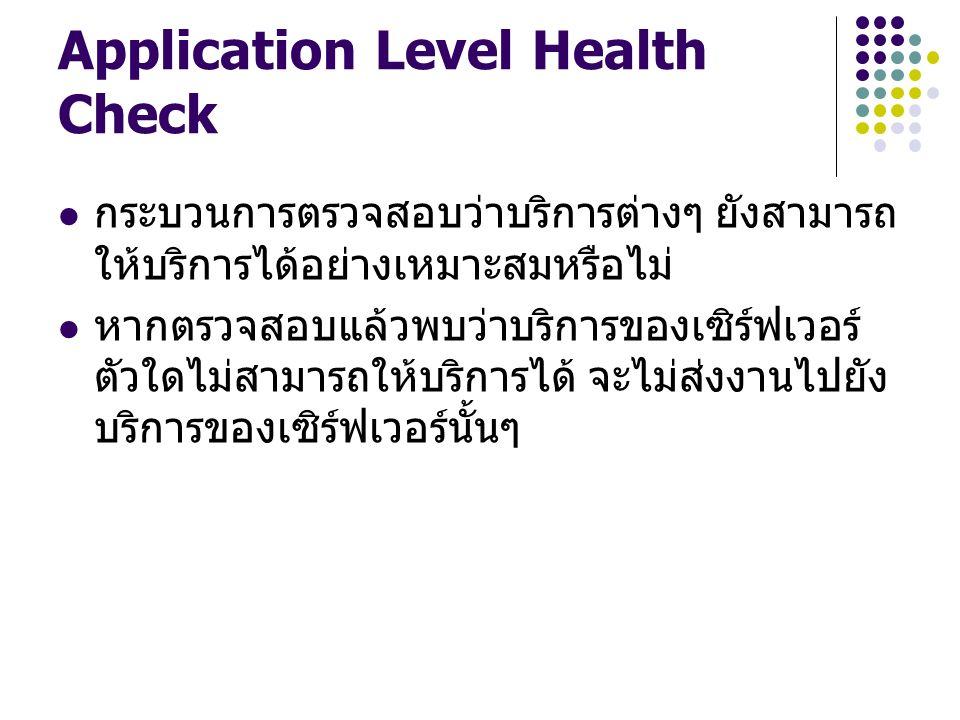 Application Level Health Check กระบวนการตรวจสอบว่าบริการต่างๆ ยังสามารถ ให้บริการได้อย่างเหมาะสมหรือไม่ หากตรวจสอบแล้วพบว่าบริการของเซิร์ฟเวอร์ ตัวใดไ
