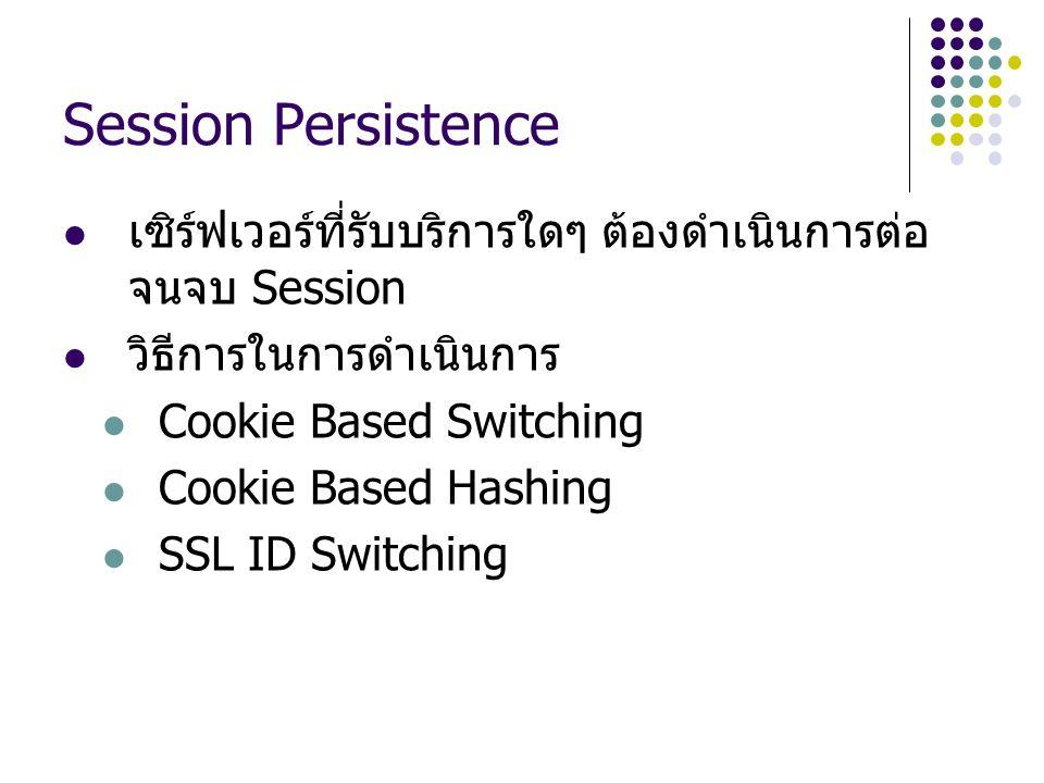 Session Persistence เซิร์ฟเวอร์ที่รับบริการใดๆ ต้องดำเนินการต่อ จนจบ Session วิธีการในการดำเนินการ Cookie Based Switching Cookie Based Hashing SSL ID