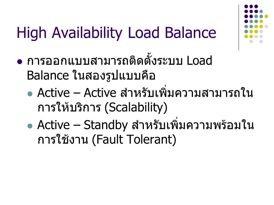 High Availability Load Balance การออกแบบสามารถติดตั้งระบบ Load Balance ในสองรูปแบบคือ Active – Active สำหรับเพิ่มความสามารถใน การให้บริการ (Scalabilit