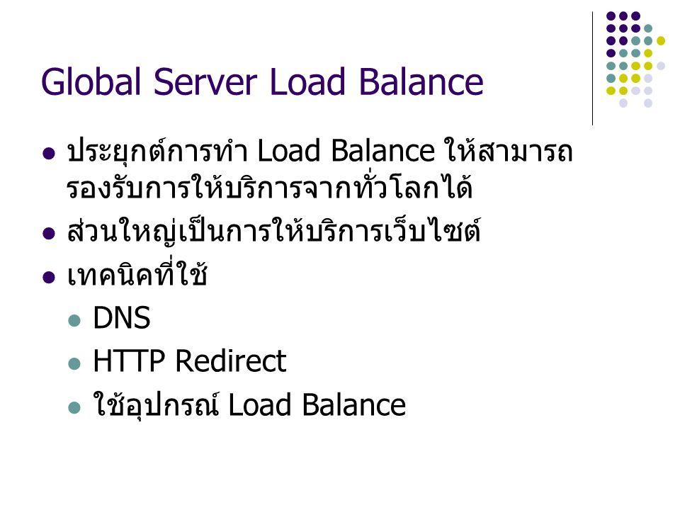 Global Server Load Balance ประยุกต์การทำ Load Balance ให้สามารถ รองรับการให้บริการจากทั่วโลกได้ ส่วนใหญ่เป็นการให้บริการเว็บไซต์ เทคนิคที่ใช้ DNS HTTP