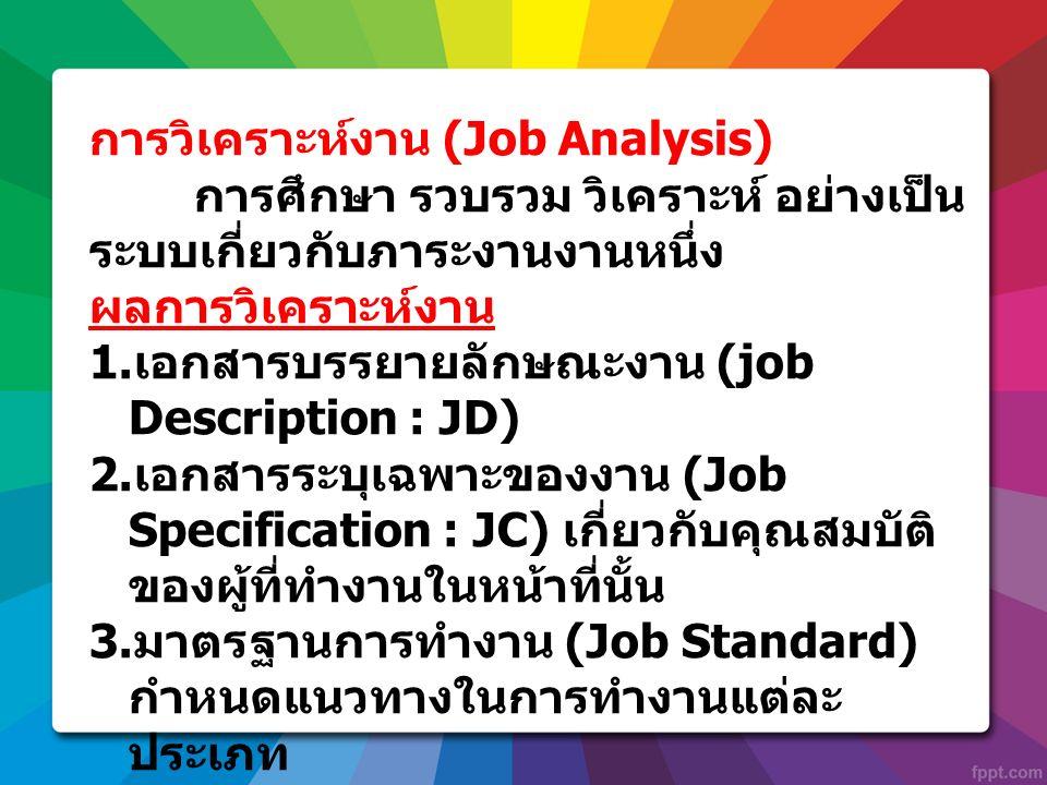 การวิเคราะห์งาน (Job Analysis) การศึกษา รวบรวม วิเคราะห์ อย่างเป็น ระบบเกี่ยวกับภาระงานงานหนึ่ง ผลการวิเคราะห์งาน 1. เอกสารบรรยายลักษณะงาน (job Descri