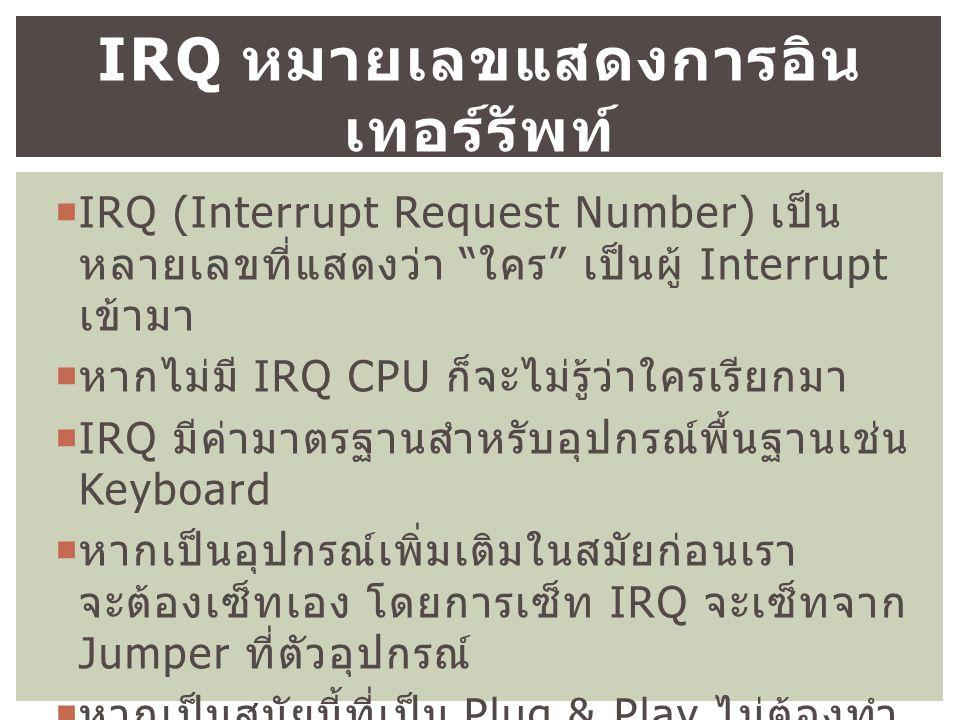  IRQ (Interrupt Request Number) เป็น หลายเลขที่แสดงว่า ใคร เป็นผู้ Interrupt เข้ามา  หากไม่มี IRQ CPU ก็จะไม่รู้ว่าใครเรียกมา  IRQ มีค่ามาตรฐานสำหรับอุปกรณ์พื้นฐานเช่น Keyboard  หากเป็นอุปกรณ์เพิ่มเติมในสมัยก่อนเรา จะต้องเซ็ทเอง โดยการเซ็ท IRQ จะเซ็ทจาก Jumper ที่ตัวอุปกรณ์  หากเป็นสมัยนี้ที่เป็น Plug & Play ไม่ต้องทำ แบบเดิม OS จะกำหนดให้เราเอง IRQ หมายเลขแสดงการอิน เทอร์รัพท์