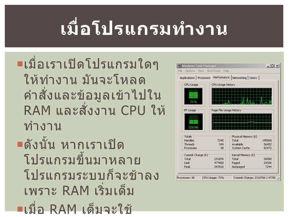  เมื่อเราเปิดโปรแกรมใดๆ ให้ทำงาน มันจะโหลด คำสั่งและข้อมูลเข้าไปใน RAM และสั่งงาน CPU ให้ ทำงาน  ดังนั้น หากเราเปิด โปรแกรมขึ้นมาหลาย โปรแกรมระบบก็จะช้าลง เพราะ RAM เริ่มเต็ม  เมื่อ RAM เต็มจะใช้ Harddisk เข้ามาช่วย ( เรียกว่า Paging) เมื่อโปรแกรมทำงาน