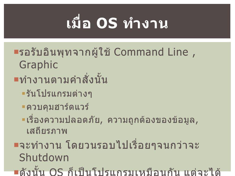  รอรับอินพุทจากผู้ใช้ Command Line, Graphic  ทำงานตามคำสั่งนั้น  รันโปรแกรมต่างๆ  ควบคุมฮาร์ดแวร์  เรื่องความปลอดภัย, ความถูกต้องของข้อมูล, เสถียรภาพ  จะทำงาน โดยวนรอบไปเรื่อยๆจนกว่าจะ Shutdown  ดังนั้น OS ก็เป็นโปรแกรมเหมือนกัน แต่จะได้ ทำงานบ่อยครั้งที่สุด เมื่อ OS ทำงาน