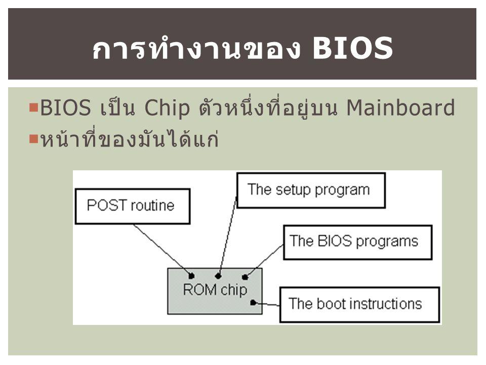  BIOS เป็น Chip ตัวหนึ่งที่อยู่บน Mainboard  หน้าที่ของมันได้แก่ การทำงานของ BIOS