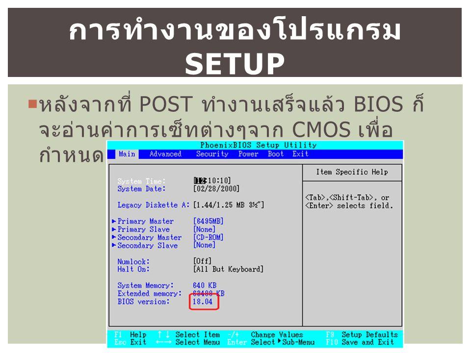  หลังจากที่ POST ทำงานเสร็จแล้ว BIOS ก็ จะอ่านค่าการเซ็ทต่างๆจาก CMOS เพื่อ กำหนด Configuration ต่างๆให้กับระบบ การทำงานของโปรแกรม SETUP
